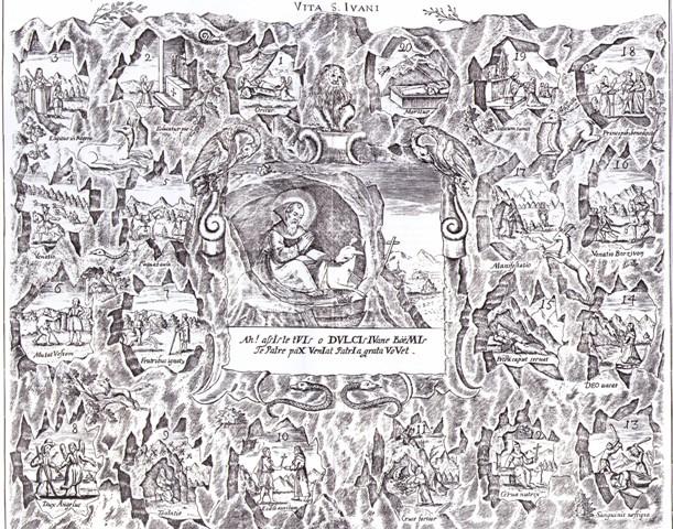 Центральная часть гравюры 18 века посвященной св. Ивану Пустыннику